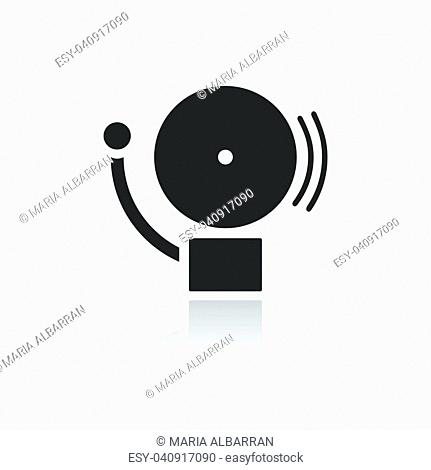 Alarm icon on a white background with reflection. Vector illustration