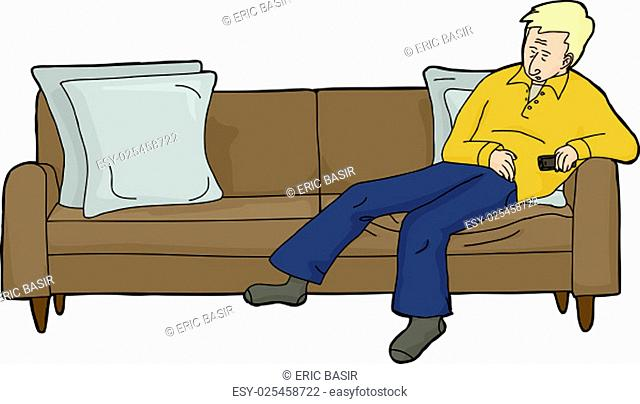 Isolated cartoon of blond man asleep on couch with TV remote