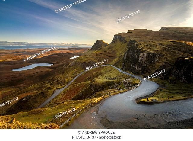 The Quiraing Pass in the Trotternish Range on the Isle of Skye, Inner Hebrides, Scotland, United Kingdom, Europe