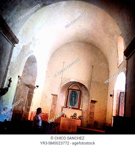 A tourist visits the church of Ticul in Yucatan, Mexico