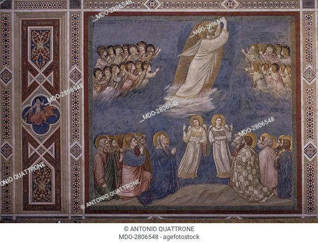 Ascension (Ascensione), by Giotto, 1303-1305, 14th Century, fresco. Italy, Veneto, Padua, Scrovegni Chapel. After restoration picture