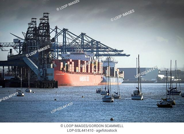 Container ships docked at Tibury Docks in Essex
