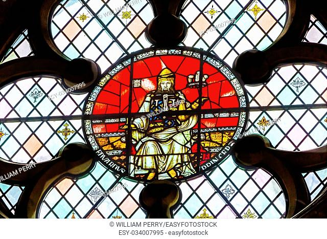 King Edward 1 of Elder Stained Glass 13th Century Chapter House Westminster Abbey Church London England. King Edward 1 from 899 until 924