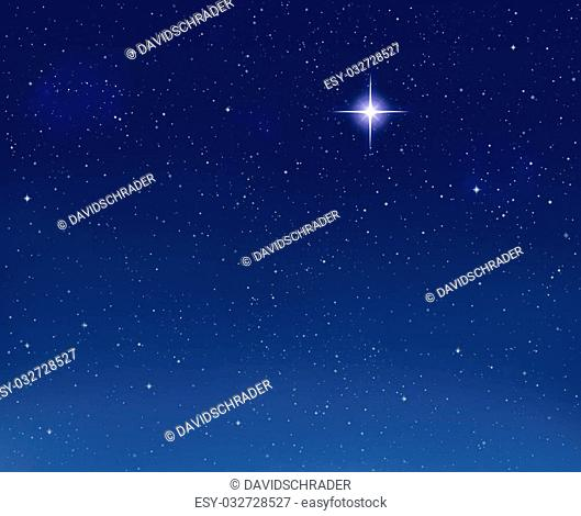 A shining star against a star field background with blue tones