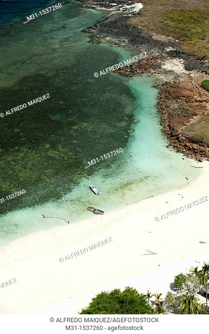 Aerial view of Isla Iguana shore  Los Santos province, Azuero peninsula, Panama, Central America