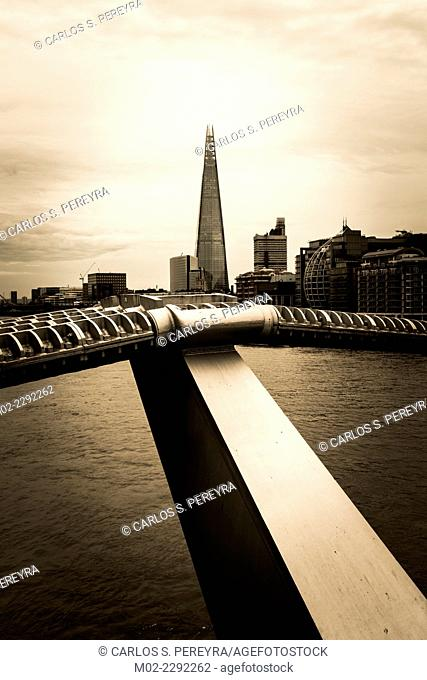 The Thames, the Millenium bridge and The Shard, London, England