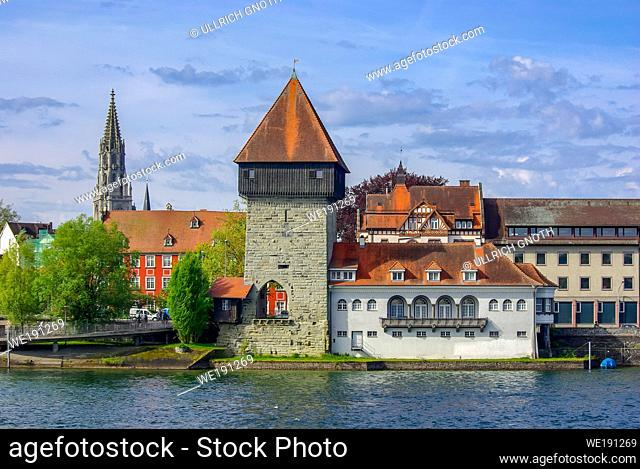 The historic Rhine Gate Tower (Rheintorturm), the medieval northern town gate, in Konstanz at Lake Constance, Baden-Wurttemberg, Germany, Europe