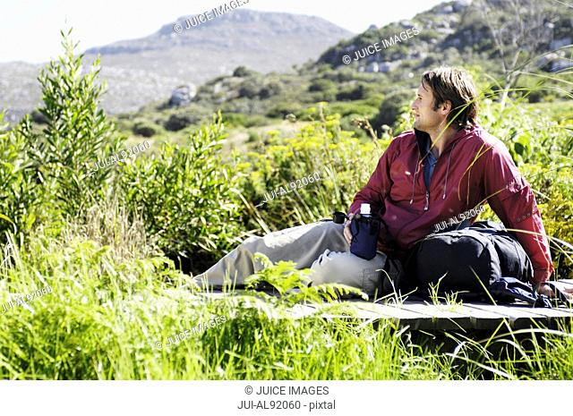 Man resting outdoors