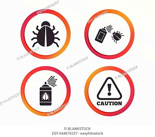 Bug disinfection icons. Caution attention symbol. Insect fumigation spray sign. Infographic design buttons. Circle templates. Vector