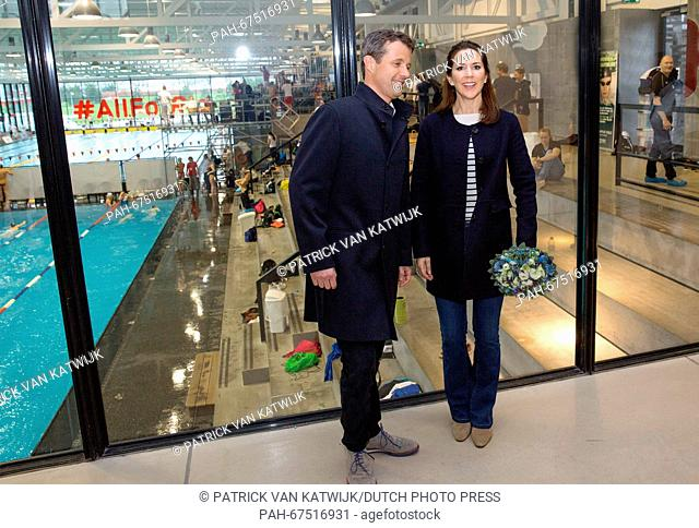 Crown Prince Frederik and Crown Princess Mary of Denmark attend the qualification regatta Danish Open at the Bellahoj Swimming Stadium, Denmark, 15 April 2016