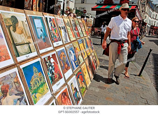 REPRODUCTION OF POSTERS, ADVERTISING AND PAINTINGS FROM THE START OF THE CENTURY, BUTTE MONTMARTRE, PARIS 75, FRANCE