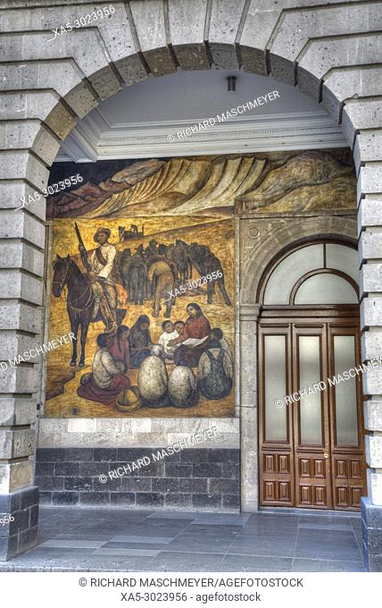 """Wall Mural, """"""""The Rural Teacher"""""""", Painted by Diego Rivera, 1923, Secretariate of Education Building, Mexico City, Mexico"""