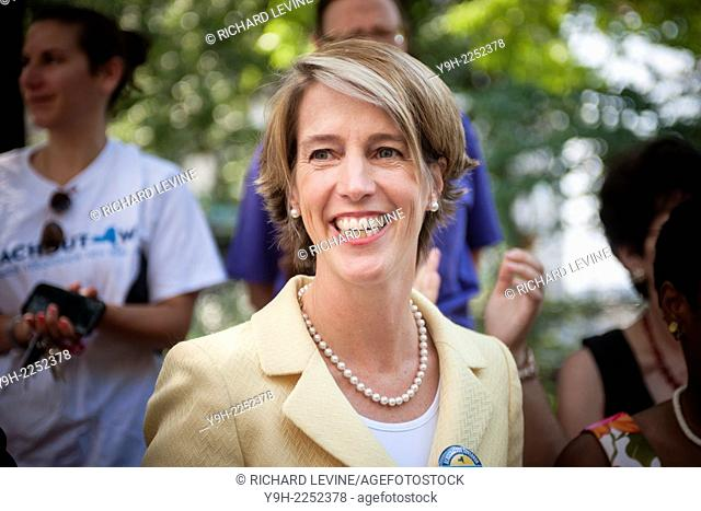 Democratic NYS gubernatorial candidate Zephyr Teachout speaks at a news conference in New York about receiving the endorsement of the National Organization of...
