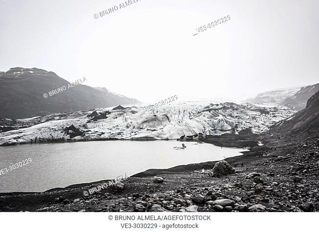 View of ice tongue in Sólheimajökull glacier (region of Suðurland, Iceland)