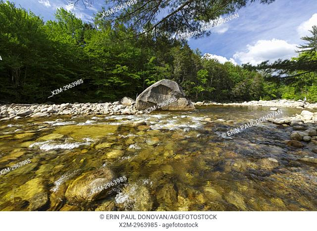 The East Branch of the Pemigewasset River in the Pemigewasset Wilderness of Lincoln, New Hampshire USA during the spring months