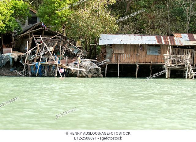 Fisherman's house by the sea, Don Sak, Surat Thani, Thailand
