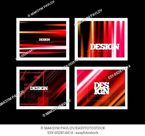 Color background lines in motion on a dark background. Trend Mesh Abstraction. Vector set illustraion can be used for prints, flyers, banners, booklet