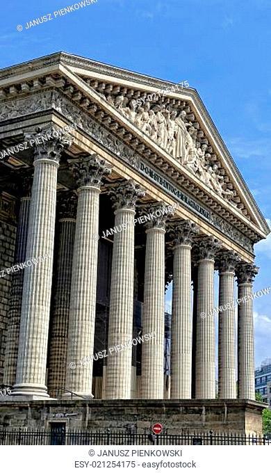 The Madeleine Church on the Place de la Madeleine in Paris