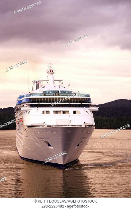 Cruise ship 'Rhapsody of the Seas' entering harbor, Prince Rupert, BC