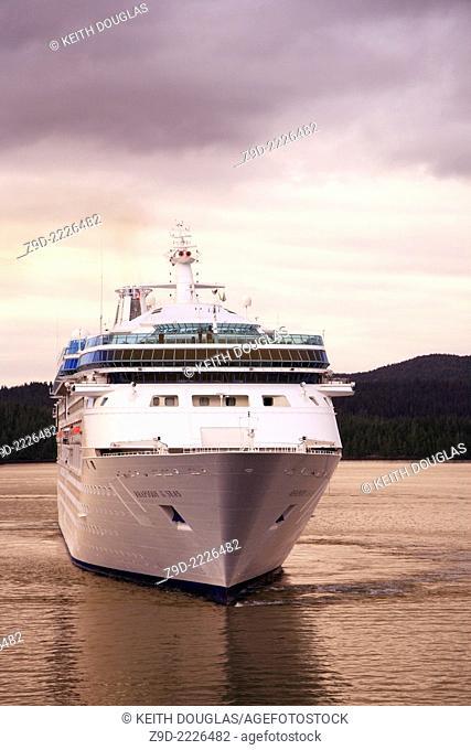 Cruise ship 'Rhapsody of the Seas' entering harbor, Prince Rupert, BC