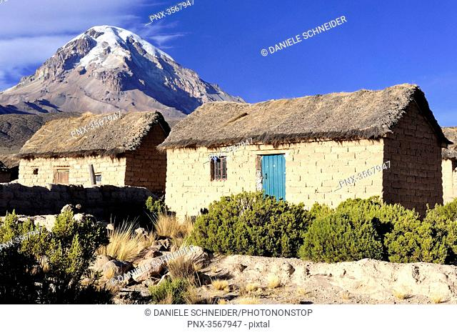Bolivia, South America, Sajama volcano and Tomarapi village on the Altiplano