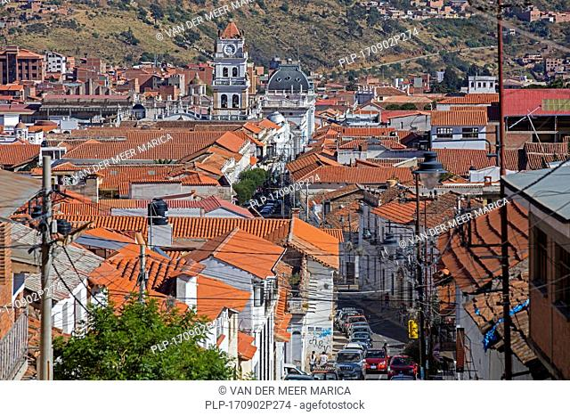 Aerial view over colonial street and rooftops in the white city of Sucre, constitutional capital of Bolivia in the Oropeza Province