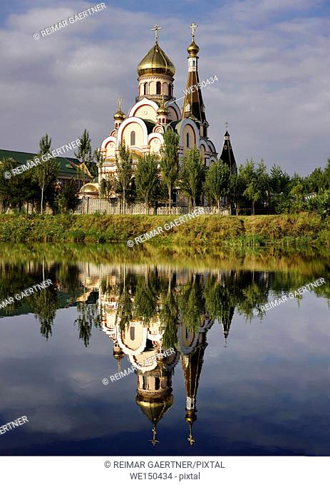 High resolution image of the Orthodox Church of Exaltation of the Holy Cross in Almaty Kazakhstan