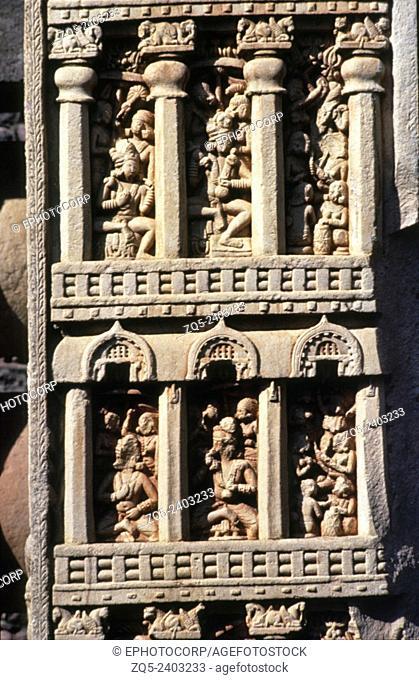 Stupa-1 East Torana, North pillar facing East, Tushita Heaven. Sanchi, Dist Raisen, Madhya Pradesh India