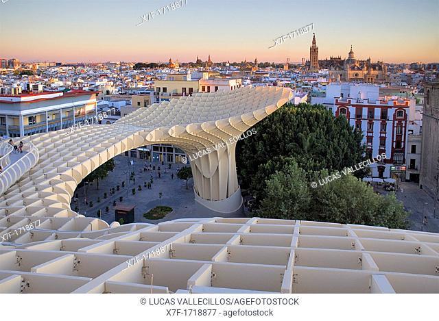 Top of Metropol Parasol, in background the cathedral, from Plaza de la Encarnación, Sevilla, Andalucía, Spain