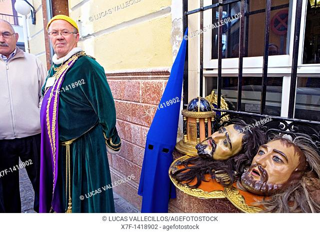 Masks of `figuras'and penitents Holy Week  Puente Genil  Córdoba province  Spain