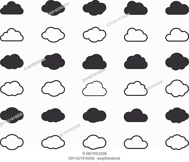 Clouds shapes or cloud black icons set. Vector elements for weather forecast and cloud storage applications. Web weather, internet cloudscape, upload data