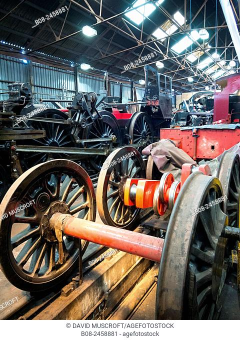 vintage steam locomotive in the maintenance shed at Loughborough station, on the Great Central Railway in Leicestershire,UK