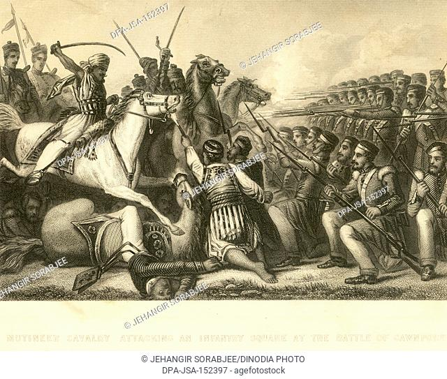Military and munity mutiny views mutineer cavalry attacking an Infantry Square at Battle of Cawanpore ; Kanpur ; Uttar Pradesh ; India