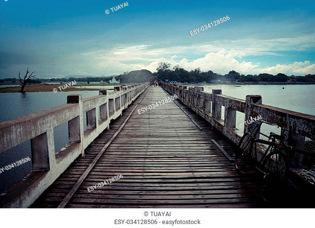 U Bein Wooden longest Bridge in Amarapura, Myanmar