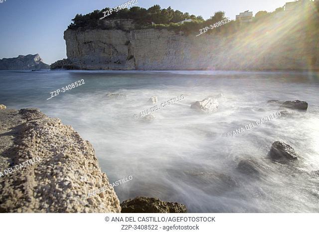 Calp Ifach penyon from Benissa coast Marina Alta Alicante province Spain. Advocat cove