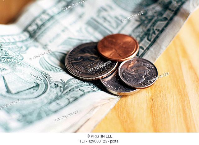 Studio shot of United States currency