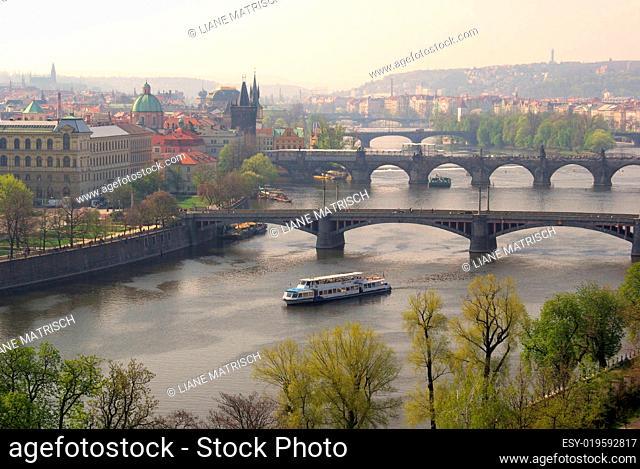 Prag Brücken von oben - Prague bridges aerial view 02