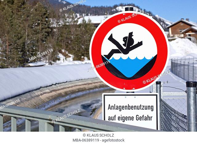 sign for warning of falling into the channel