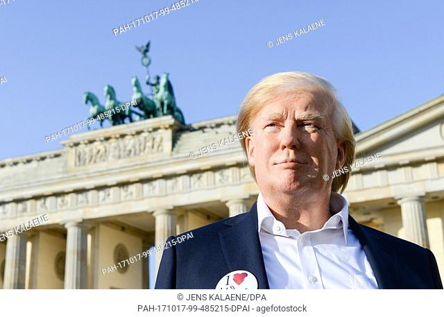 EXCLUSIVE - The wax figure of US president Donald TRump can be seen at the Brandenburg Gate in Berlin, Germany, 17 October 2017