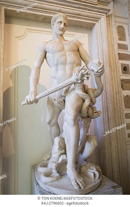 Statue of Hercules restored as killing the Hydra of Lerna in Capitoline Museum in Rome
