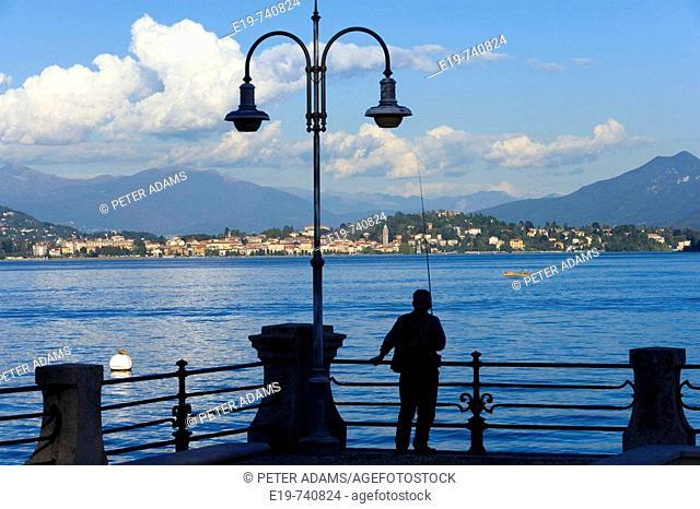 Man fishing, Baveno, Lake Maggiore, Italy