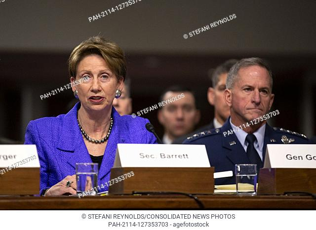 Secretary of the Air Force Barbara Barrett, on a panel with Director of Defense Capabilities and Management at the Government Accountability Office Elizabeth...