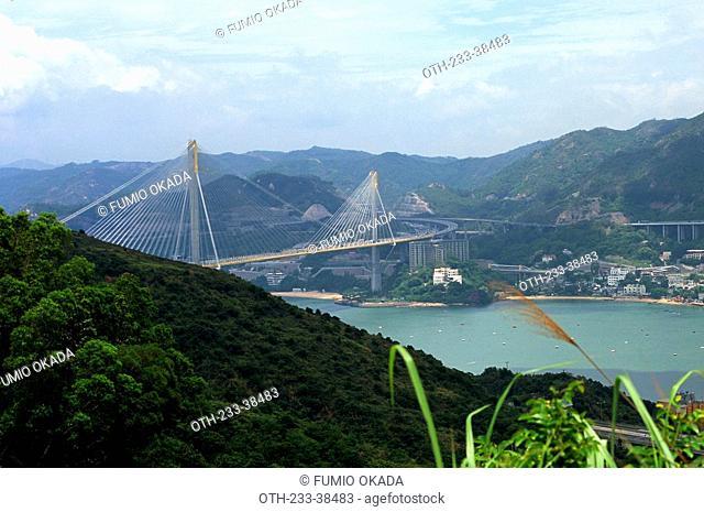 Ting Kau Bridge from Tsing Yi trail, Hong Kong