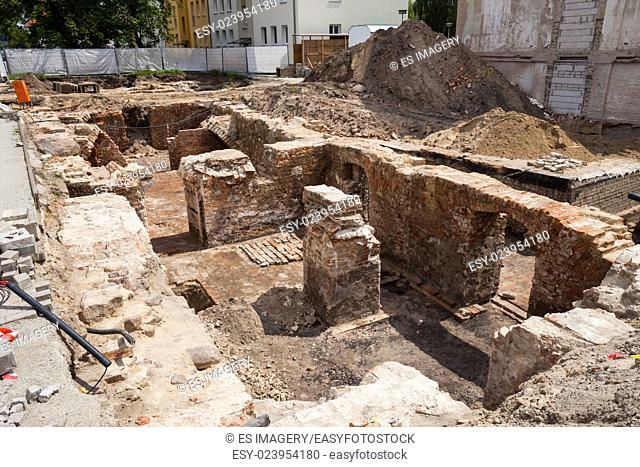 Excavations in Frankfurt (Oder), Germany, on a sunny day