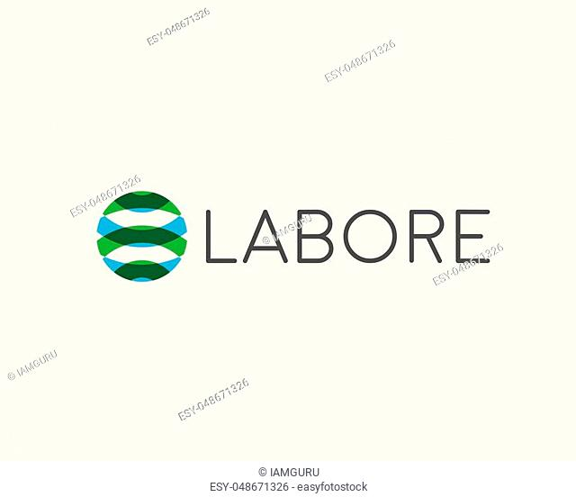 Abstract sphere logotype. Color round vector logo
