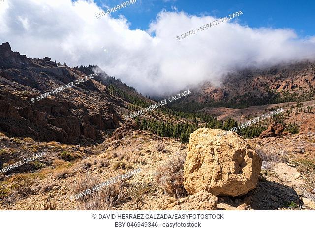 Beautiful rocky volcanic landscape in Teide national park in Tenerife, Canary islands