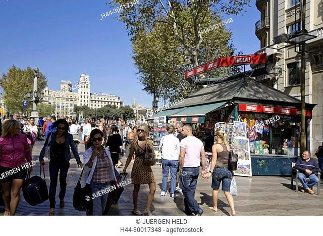 Spain, Catalonia, Barcelona, Las Ramblas, Plaza de Catalunya, Plaza De Catalunya