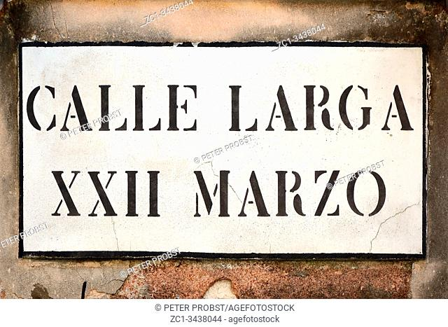Street sign from the Calle Larga XXII Marzo in Venice - Italy