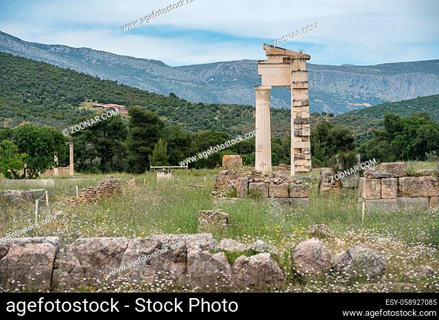 Ruins of temples and buildings at the Sanctuary of Asklepios at Epidaurus