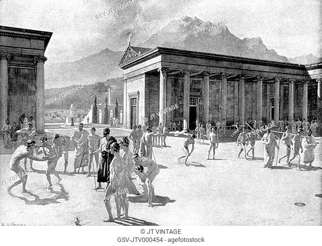 Greek Gymnasium at the Time of the First Olympic Games, Engraving, 776 BC